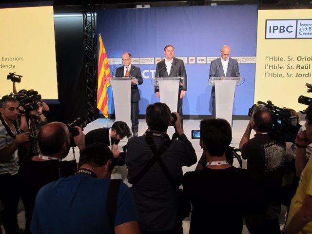 O.Junqueras, R.Romeva y J.Turull explican datos sobre el referéndum del 1-O