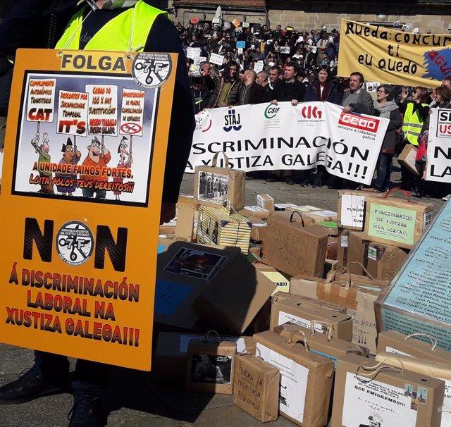 Protesta funcionarios justicia