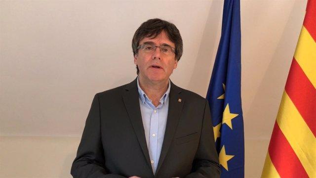 Carles Puigdemont en un vídeo difundido en un acto en Reus (archivo)