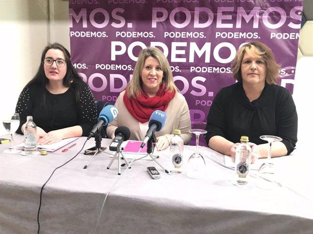 Rueda de prensa de Carmen Santos con otras integrantes de Podemos