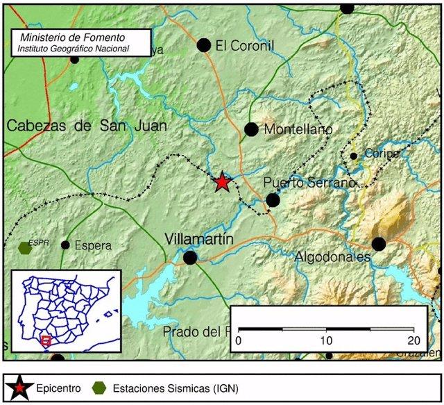 Epicentro del terremoto registrado en Puerto Serrano