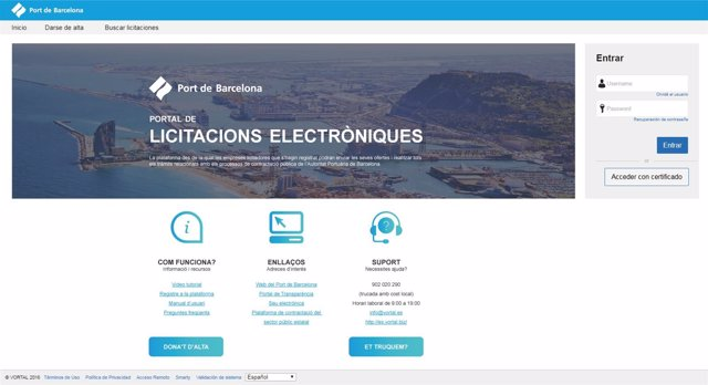 Plataforma licitación electrónica del Puerto de Barcelona