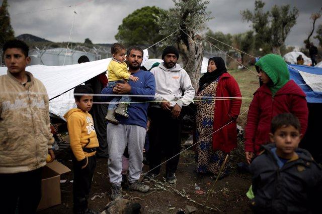 Foto de archivo de refugiados sirios en Grecia.