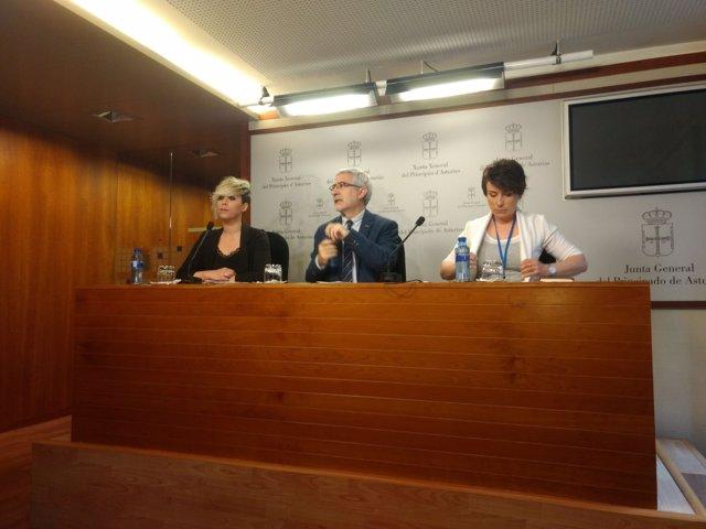 Elsa Valle, Gaspar Llamazares y Begoña Collado.