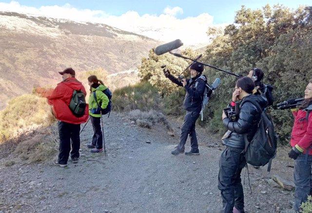 Rodaje de un programa de senderismo en la Alpujarra emitido en Japón