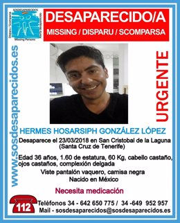 Cartel con la fotografía del desaparecido