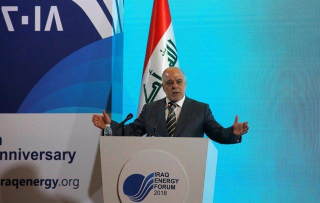 El primer ministro iraquí, Haider Al Abadi, en el Foro de la Energía en Bagdad.