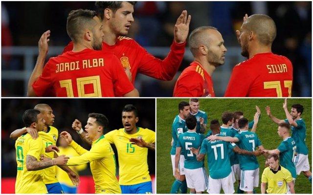 España, Brasil y Alemania, candidatas al Mundial de Rusia