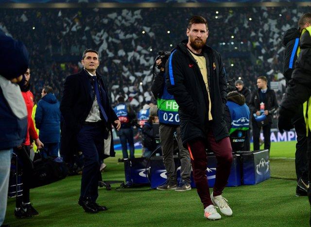 Ernesto Valverde Leo Messi Barcelona