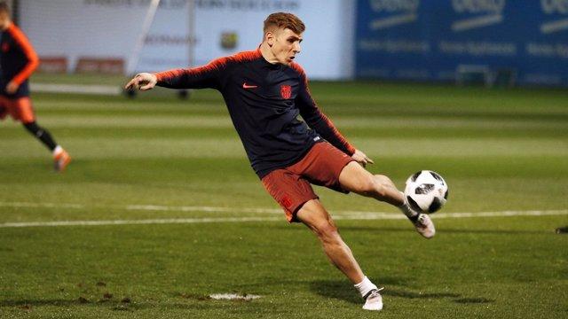 Lucas Digne entrenando con el FC Barcelona