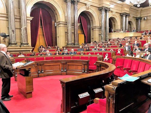 El Síndic de Greuges de Catalunya, Rafael Ribó, en el pleno del Parlament