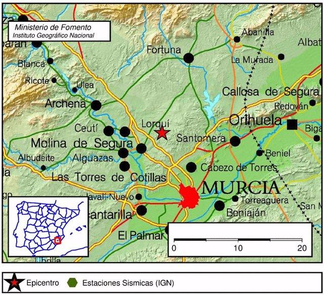 Imagen del lugar en el que ha tenido lugar el terremoto en Molina de Segura
