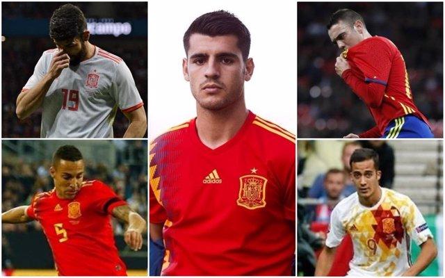 Montaje con delanteros de la selección española