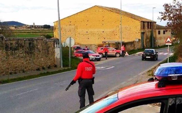 Imagen de un control de la Policía Foral.