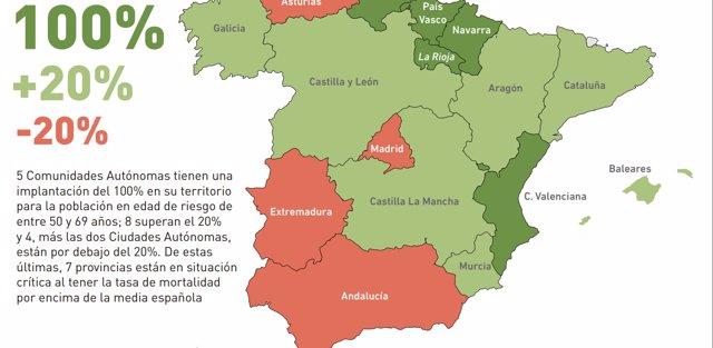 Mapa de la cobertura del cribado de cáncer de colon