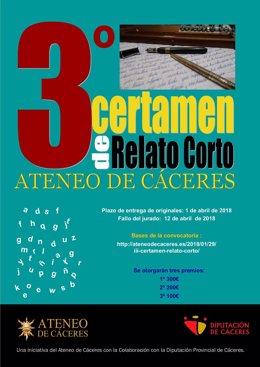 Cartel del Certamen de Relato Corto del Ateneo de Cáceres