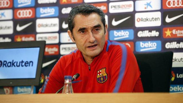 Ernesto Valverde (Barcelona) en rueda de prensa