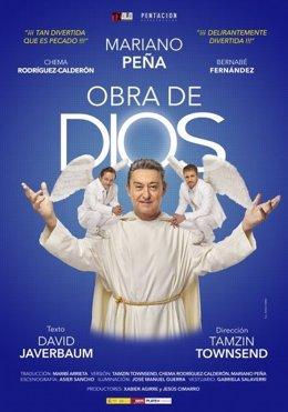 """Cartel de la comedia """"Obra de Dios"""""""