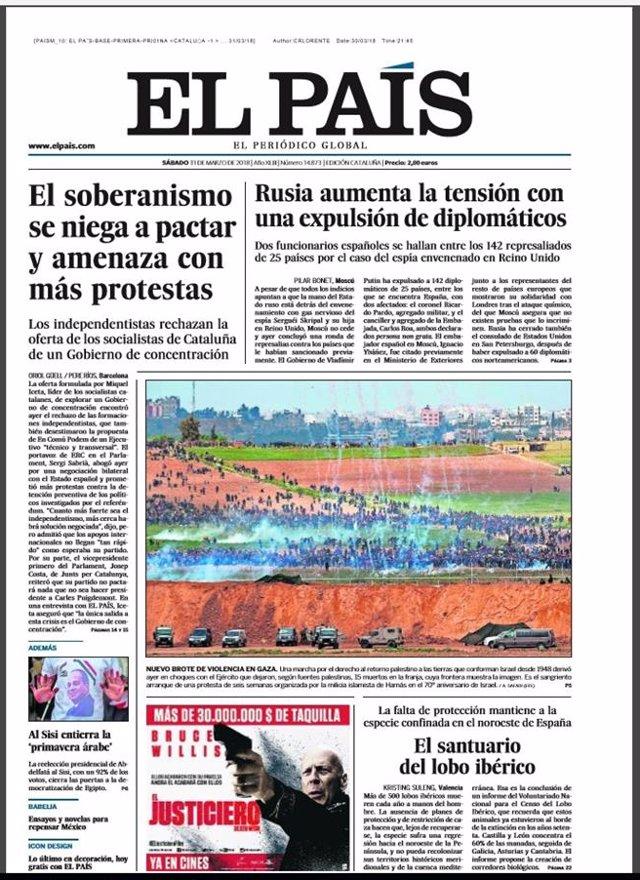 Portada de El País Primera Edición 31 de marzo