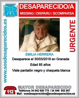 Mujer desaparecida en la zona norte de Granada