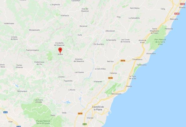 Localización de Xodos (Castellón)
