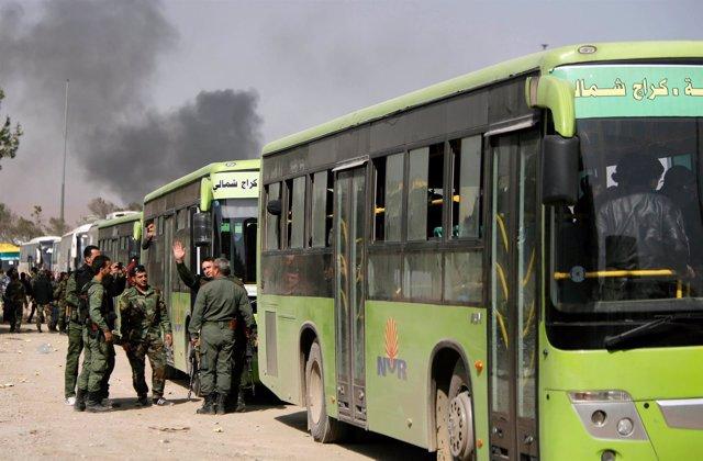 Evacuación de milicianos en Ghuta Oriental