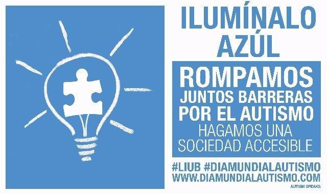 Campaña para iluminar de azúl edificios en sensibilización autismo