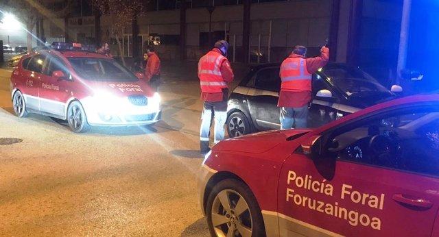 Momento de la detención del conductor francés en Tudela