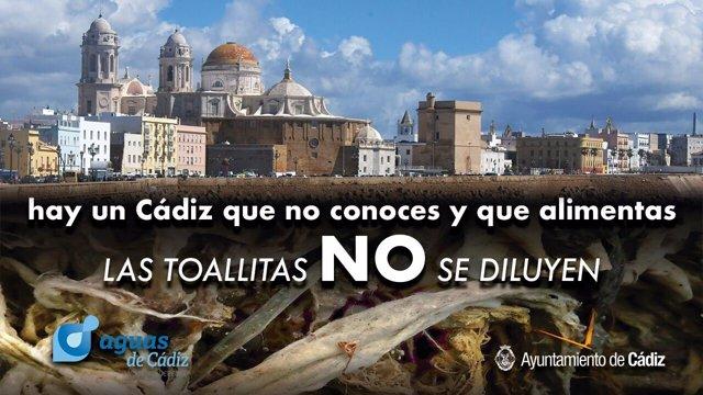 Campaña de Aguas de Cádiz por el uso de toallitas