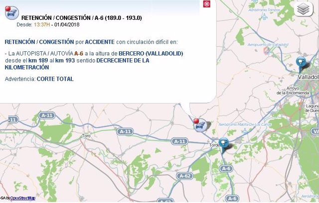 Mapa descriptivo del punto del accidente en la A-6