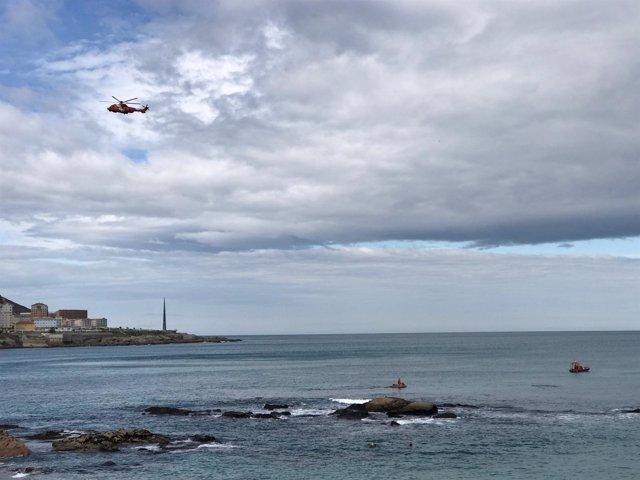 Búsqueda joven desaparecida en la costa de A Coruña