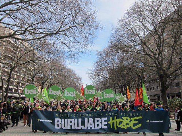 Manifestación del Aberri Eguna en Pamplona
