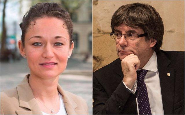 Zaklin Nastic y Carles Puigdemont