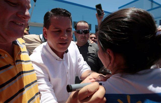 Fabricio Alvarado durante la jornada electoral