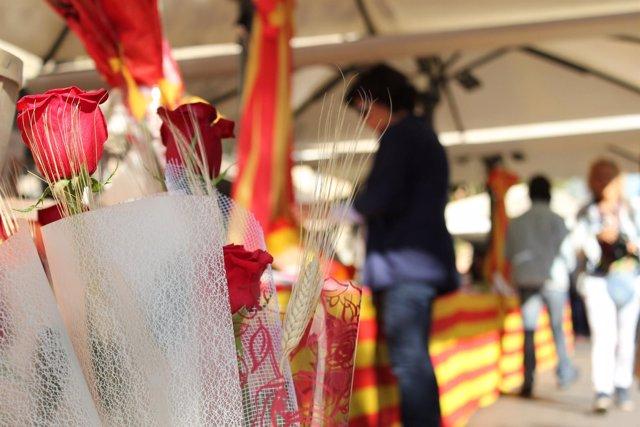 Rosas y libros en Sant Jordi
