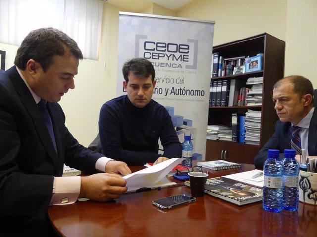 Los dirigentes de CEOE y UGT Cuenca, Peña y Azcoitia, se reúnen por primera vez