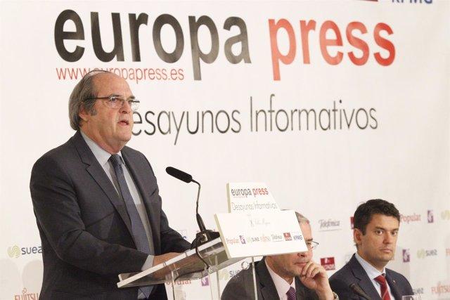 Ángel Gabilondo en un desayuno informativo de Europa Press