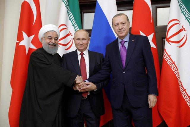 Los presidentes de Turquía, Irán y Rusia