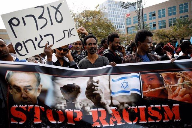 Manifestación de inmigrantes africanos en Israel