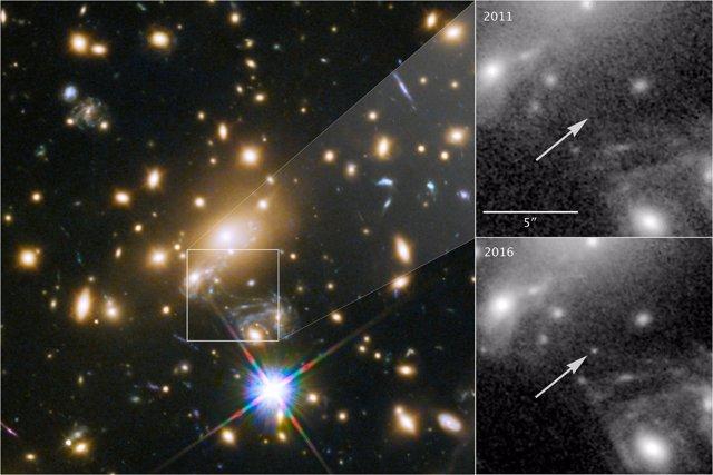 La estrella 'Icarus' vista con efecto de lente gravitacional con el Hubble
