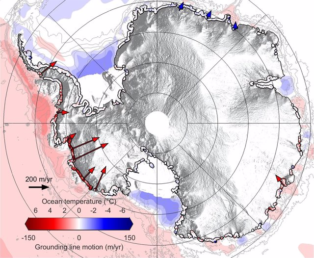 Las líneas marcana la retirada del hielo antártico
