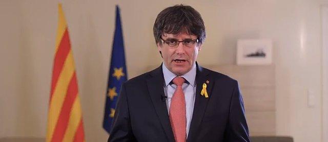 Puigdemont en su mensaje desde Bruselas