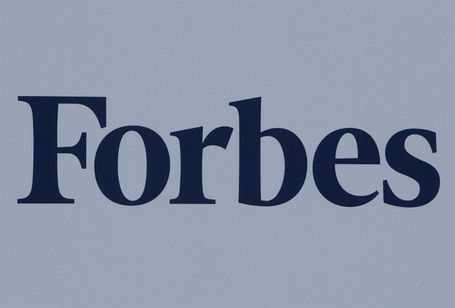 The logo of Forbes magazine is seen on a board at the St. Petersburg Internation