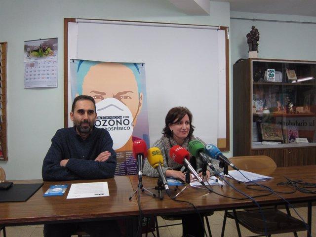 Miguel Ángel Ceballos y María Sánchez en rueda de prensa. 3-4-2018
