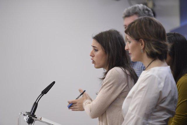 Rueda de prensa de la portavoz de Podemos, Irene Montero, en el Congreso