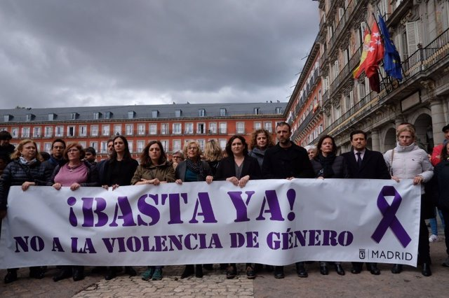 Concentración contra la violencia de género en Madrid