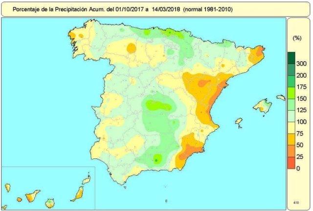 Mapa de lluvias acumuladas en España del 1 de octubre de 2017 al 14-3-2018