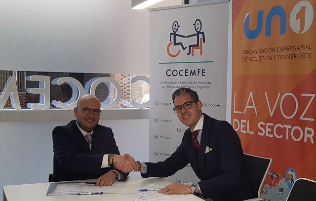 Firma del convenio entre Cocemfe y la patronal logística UNO