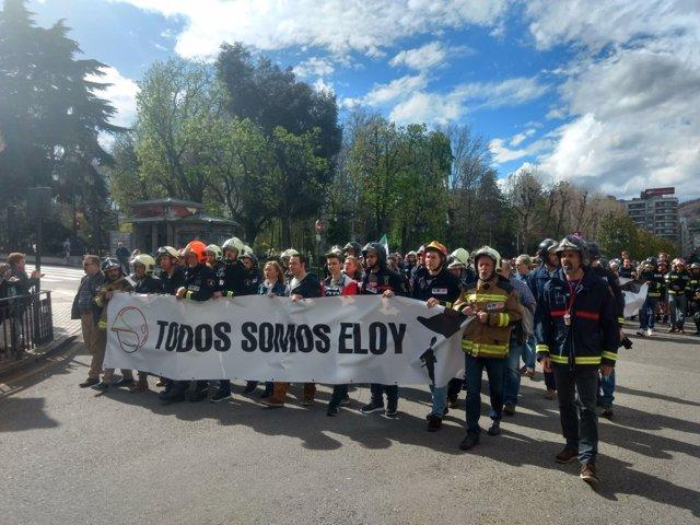 Cabecera de la manifestación en memoria de Eloy Palacio.