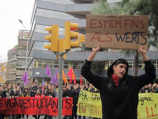 Huelga de estudiantes del pasado 27 de febrero en Barcelona